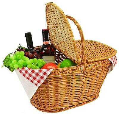 XXL Woven wicker Picnic basket with handle Lid Willow traditional Rattan hamper