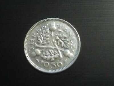 King George V Three Pence 3d Silver Coin 1936