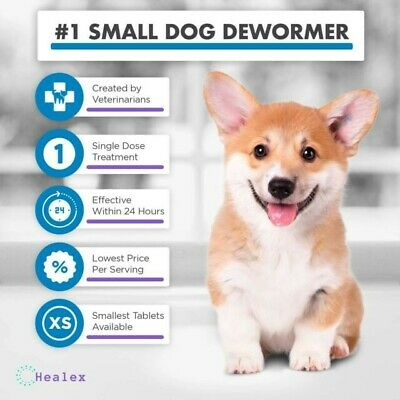 Healex 10 Tablets Small Dog (2-25lbs) Dewormer for Tapeworm, Roundworm, Whipw...