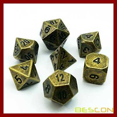 Bescon Ancient Brass Solid Metal Polyhedral D&D Dice Set Of 7 Antique Copper RPG