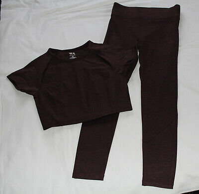 We Over Me Womens Karma Crop Tee + Synergy Leggings Dark Rusted Red Size S New