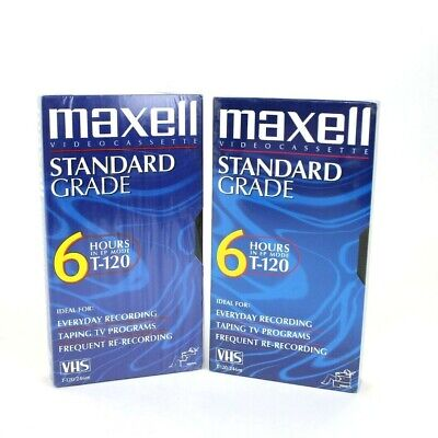 Lot of 2 Maxwell Standard Grade T-120 Blank VHS Video Cassette Tape