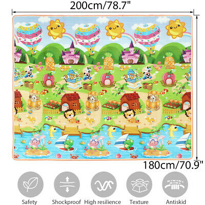 2MX1.8MX2CM Baby Kids Floor Play Mat Rug Picnic Cushion Crawling Mat Waterproof
