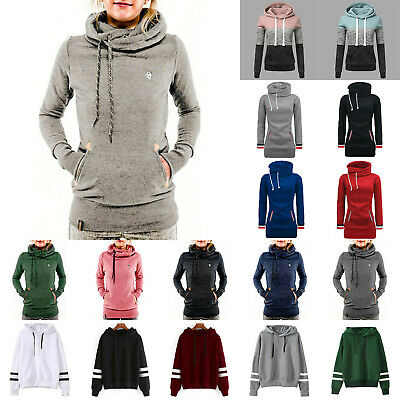 Womens Long Sleeve Hoodie Sweatshirt Pocket Pullover Hooded Jumper Sweater Tops