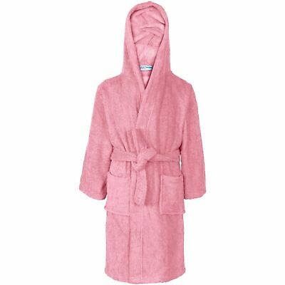 Kids Girls 100% Cotton Soft Terry Baby Pink Hooded Bathrobe Luxury Dressing Gown