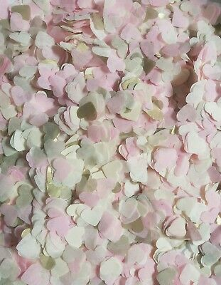 3000 Confetti HEART Light pink, ivory and gold Wedding /party biodegradable