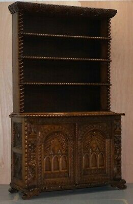 Circa 1800 Carved Oak & Elm Bookcase In The Jacobean Style Barley Twist Detail