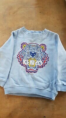 KENZO KIDS Size 2 Pale Blue TIGER SWEATER JUMPER