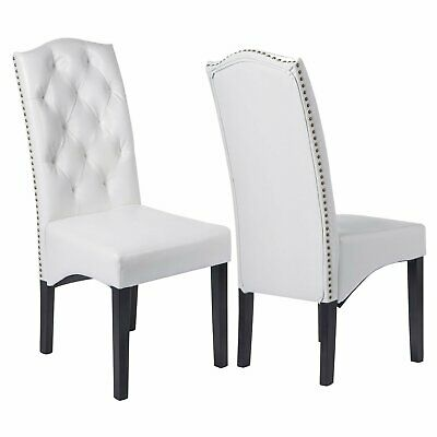 Set of 2 Dining Chairs PU Leather Soft Cushioned Seat & Back White Furniture