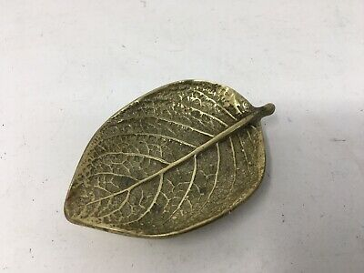 Vintage brass leaf dish by Virginia Metalcrafters 3-30. 1948