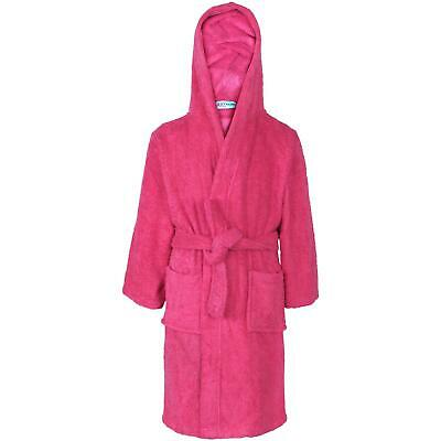 Kids Girls 100% Cotton Soft Terry Pink Hooded Bathrobe Luxury Dressing Gown 2-13