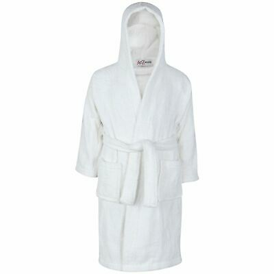 Kids Girls Boys 100% Cotton Soft White Hooded Bathrobe Luxury Dressing Gown 2-13