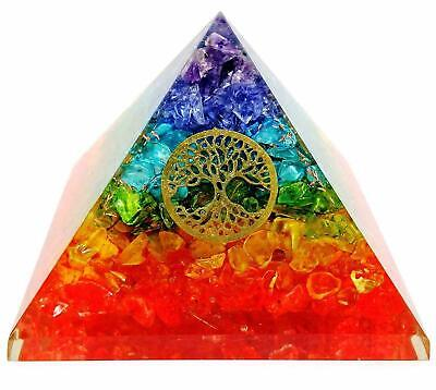 Extra Large 65MM Multi 7 Chakra Natural Crystal Tree of Life Orgone Pyramid