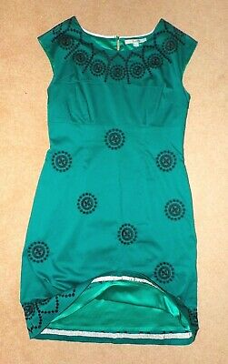 BNWOT green BODEN DRESS UK 14 regular with embroidery detail - fully lined NEW