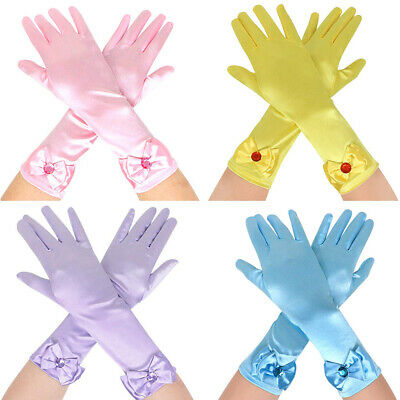 Kids Girls Long Satin Bowknot Gloves Princess Costume Evening Party Wedding AU