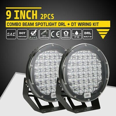 Pair 9inch 99999W CREE Round Black LED Spot Driving Lights Offroad 4x4 ATV OL