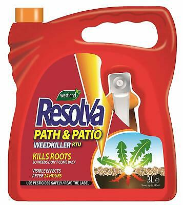 3L Resolva Path + Patio Weed Killer Roots Garden Grass Plants Strong Fast Acting