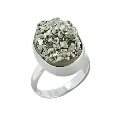 925 Sterling Silver Pyrite Druzy Ring, Handmade Wholesale Silver Jewelry Size- 8