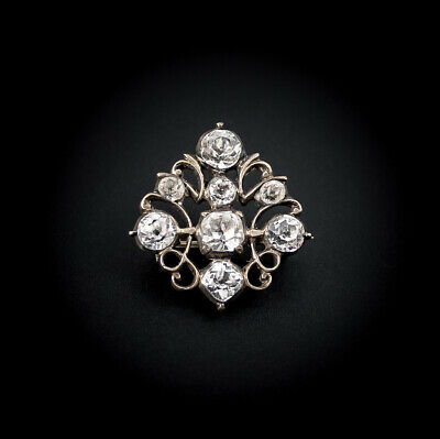 Antique Victorian Silver Black Dot Paste Small Diamond-Shaped Brooch Lace Pin