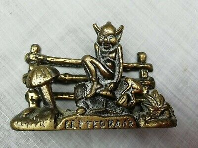 Vintage English Brass Letter Rack Lucky Cornish Pixie on Toadstool