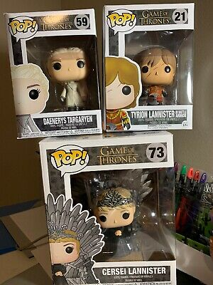 Game Of Thrones Funko Pop Lot 21, 59, 73 Daenerys, Tyrion, Cersei HBO
