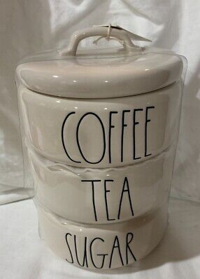 """NEW Rae Dunn """"COFFEE, TEA & SUGAR"""" LL Large Letter Stackable Canister Set"""