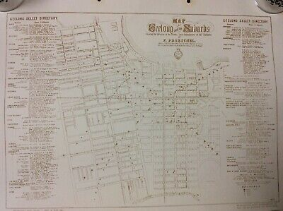 Reproduction Map 1855 ....Geelong And Its Suburbs ..Home / Office Decor  Item