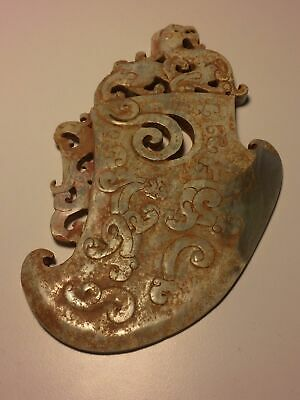Archaic Chinese jade blade with dragon, Warring States period (475 BC -221 BC)