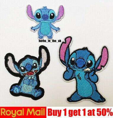 Iron on patches Stich Lilo and Stich children Cartoon blue 7x8,3 badges