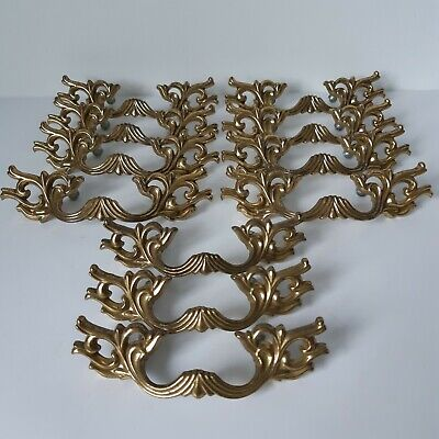 Brass Drawer Handle Pulls 8 plus 3 Lot of 11 Vintage Fancy Ornate 2.5 in centers