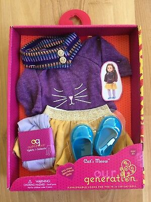 """New Our Generation Doll Outfit Cat's Meow OG 18"""" Set Sweater Skirt Shoes tights"""