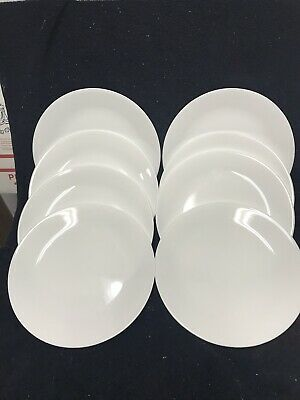 SET OF 8 CORELLE WINTER FROST WHITE Dinner PLATES 10 1/4""