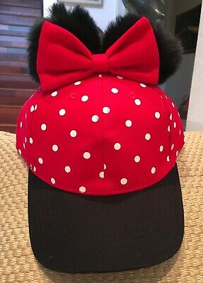 Nwt Disney Minnie Mouse Hat Polka Dots Bow Pom Poms