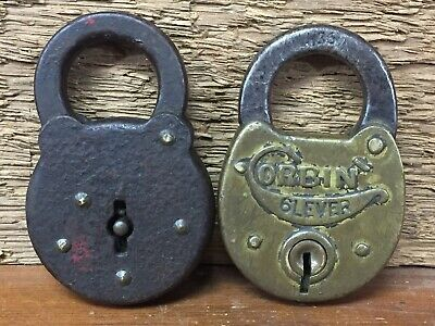 Antique Vintage Padlock Lot - Corbin 6 Lever Brass Lock & Unknown - Both Locked