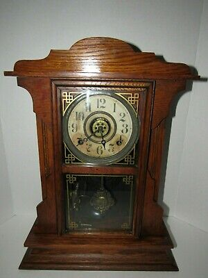 Antique E. Ingraham Kitchen Clock with Alarm, 8-day, Time and Strike