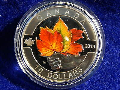 "2013 O CANADA Series $10.00 Fine Silver--COLORED--""THE MAPLE LEAF""   Item #6856"