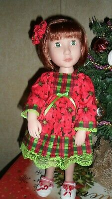 """Christmas Plaid & Flowers Dress for 16"""" Kish Dolls & Others Her Size New"""