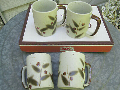 VTG Otagiri HANDCRAFT Bittersweet Stoneware SPECKLED lot of 4 CUPS/MUGS-JAPAN