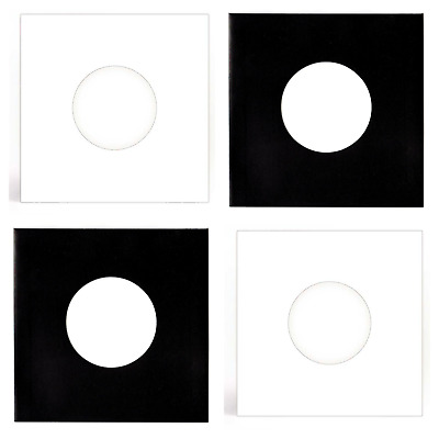 "40 SHEETS - BLACK & WHITE PAPER RECORD SLEEVES W/HOLES FOR 7"" VINYL EPs (45RPM)"