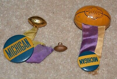 TWO Vintage Michigan Wolverines-Button Pinback-With Ribbon and Football + 1 MORE