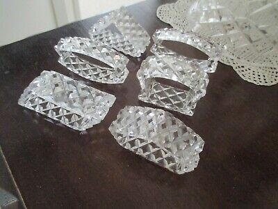 Crystal / cut glass SERVIETTE  Holders..set of 6..