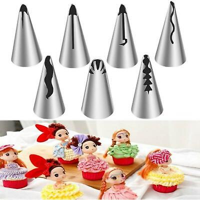 7Pcs Stainless Steel Russian Wedding Skirt Tulip Icing Piping Nozzle Cake Decor