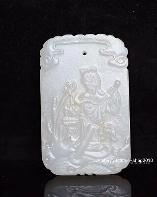 6.4CM Rare China Natural old HeTian Jade Carved woman Pendant Amulet JJO