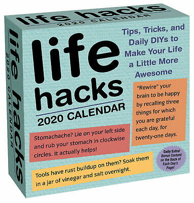 Life Hacks 2020 Day-to-Day Boxed Calendar by Andrews McMeel Free Post NEW