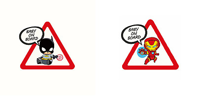 Autocollants Voiture Bébé à bord Batman & Ironman Baby on Board Sticker Aufklebe