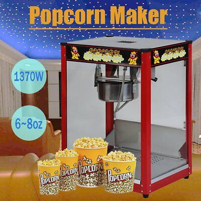 1370W Commercial Stainless Steel Popcorn Machine Red Pop Corn Warmer Cooker 65