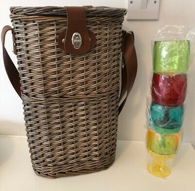 Wicker Picnic Insulated Wine Bottle Basket & 4 Plastic Wine Glasses With Strap
