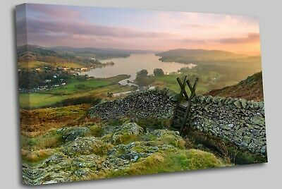 Sunset Windermere Lake District Canvas Wall Art Picture Print