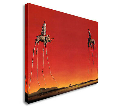 Salvador Dali - The Elephants  Canvas Wall Art Picture Print