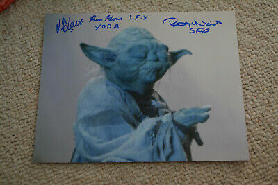 DENNIS LOWE , RON HONE & ROGER NICHOLS signed autograph 8x10 STAR WARS YODA SFX